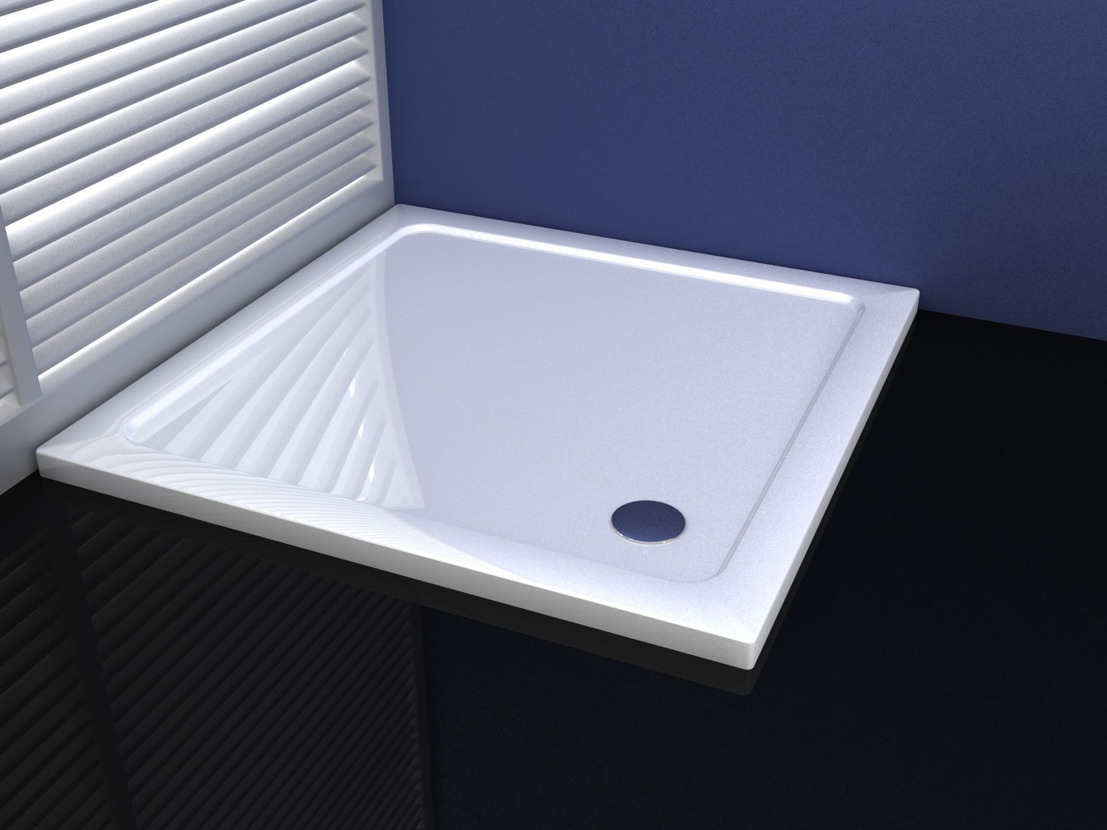Premium Low Profile Gloss White Stone Resin Square Shower Tray